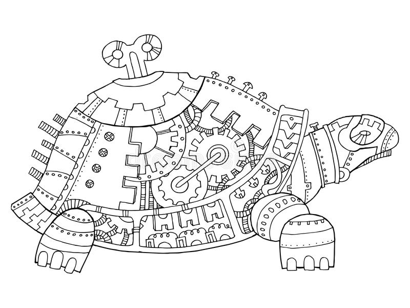 Vecteur de livre de coloriage de tortue de style de Steampunk illustration stock