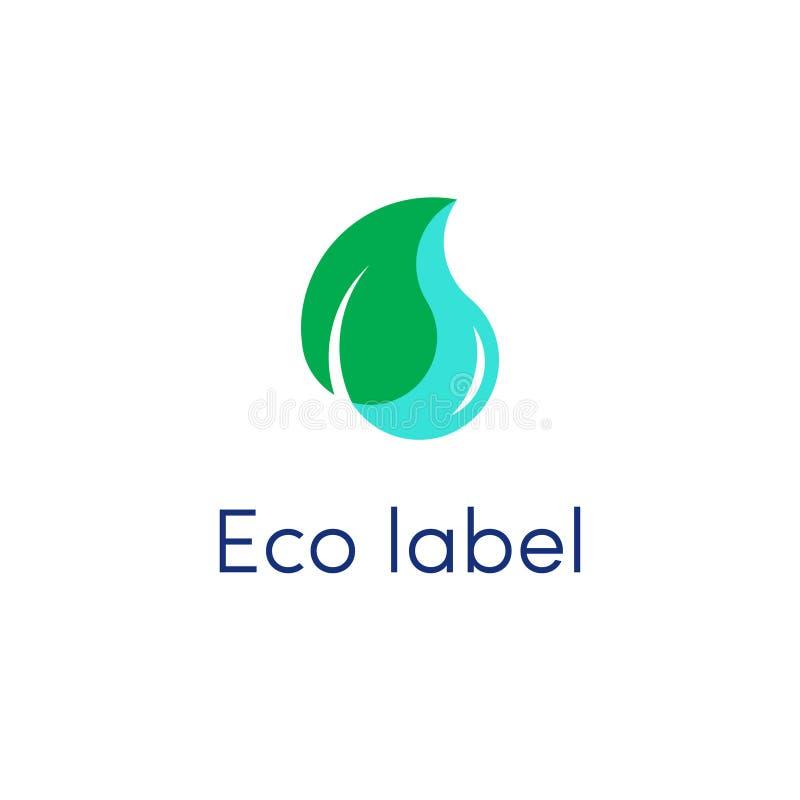 Vecteur de logo de baisse de feuille et d'eau illustration libre de droits