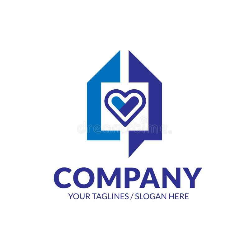 Vecteur de logo de Chambre et de coeur illustration stock