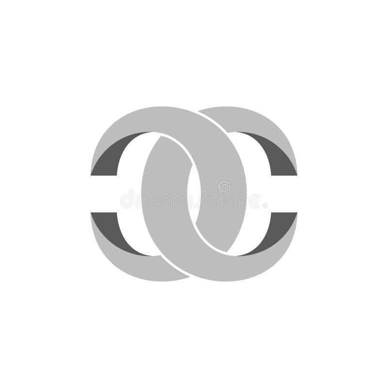 Vecteur de logo de conception d'anneau de cc 3d de lettres illustration de vecteur