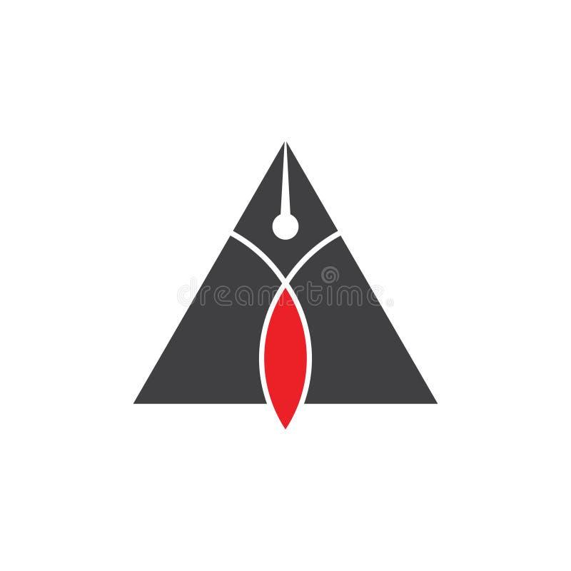 Vecteur de logo de conception d'auteur de stylo de triangle illustration libre de droits