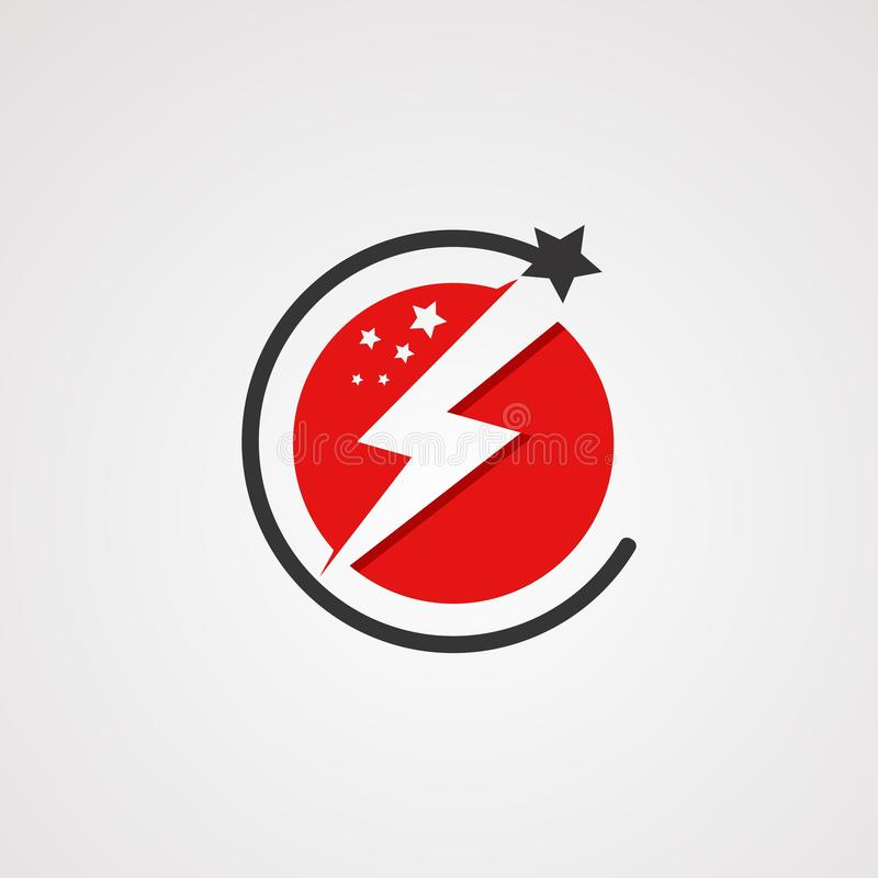 Vecteur de logo d'étoile de puissance avec le concept, l'élément, le calibre, et l'icône de couleur rouge de cercle pour la socié illustration de vecteur