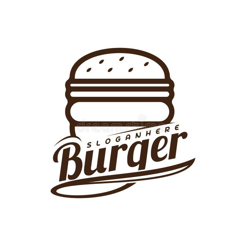 Vecteur de logo d'hamburger de nourriture Conception d'emblème d'hamburger Calibre de vecteur de logo de nourriture illustration de vecteur