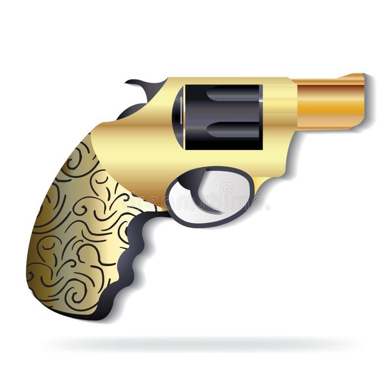 Vecteur de logo d'icône d'arme à feu de cru d'or illustration stock