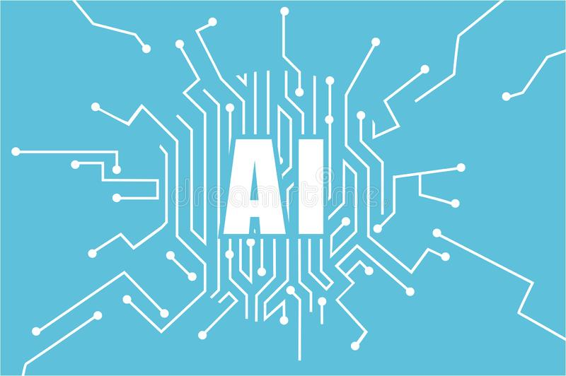 Vecteur de logo d'intelligence artificielle Concept d'apprentissage automatique illustration libre de droits