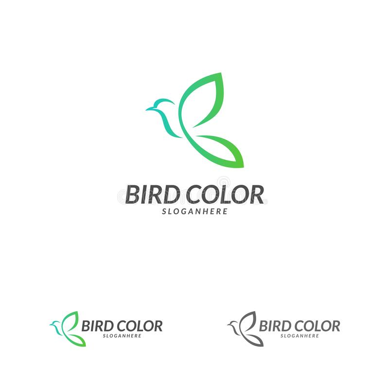 Vecteur de logo d'oiseau Calibre de vecteur de conception de logo d'oiseau de vol Icône de concept de Logotype de pigeon de colom illustration libre de droits