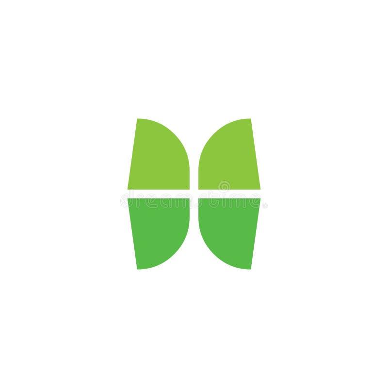 Vecteur de logo de forme de feuille de vert de fenêtre de résumé illustration de vecteur