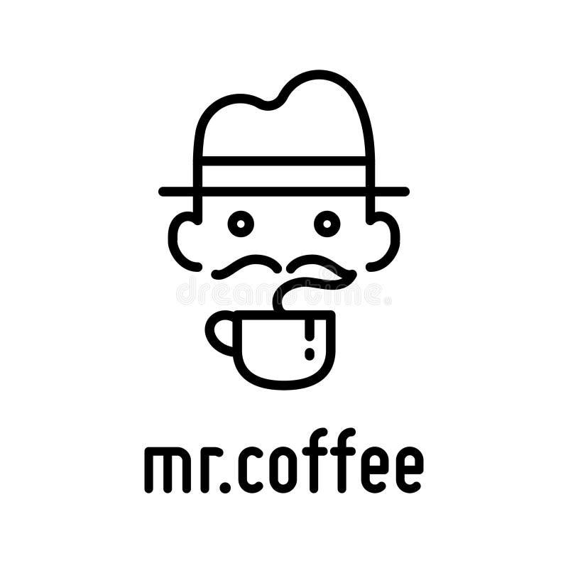 Vecteur de logo de hippie de tasse et de chapeau de café illustration stock