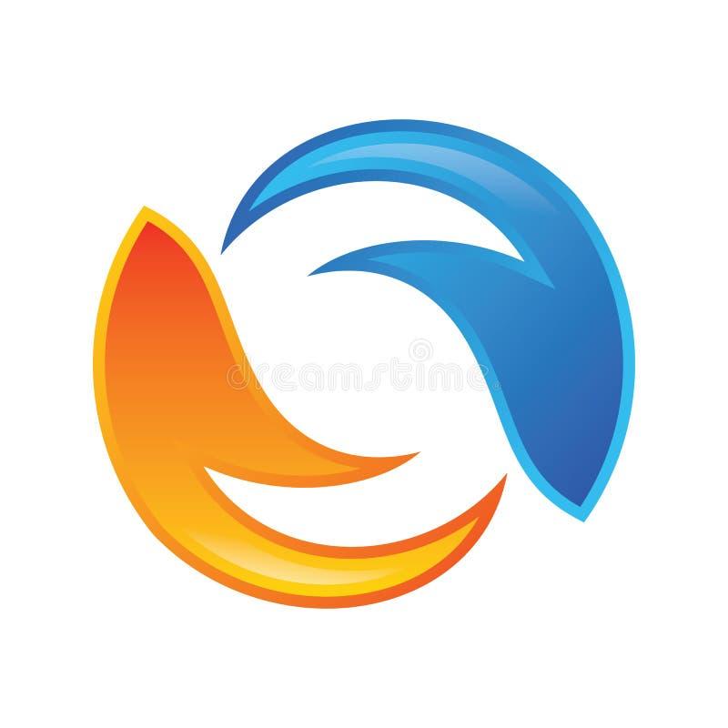 Vecteur de logo de la lettre S de cercle de flamme illustration stock