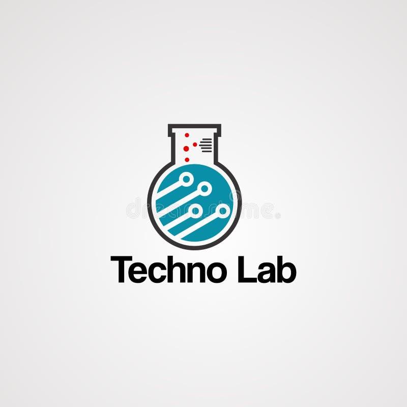 Vecteur de logo de laboratoire de techno, concept avec l'électron de circuit, élément, icône, et calibre pour la société illustration libre de droits
