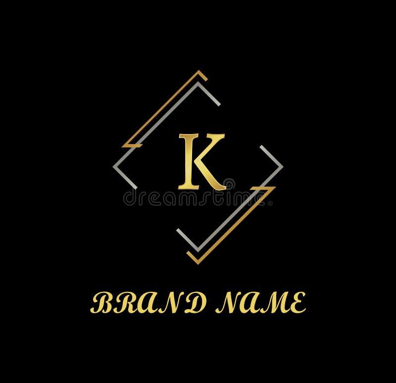 Vecteur de logo de Letter K Logo, Company, logo de luxe, logo d'or illustration stock
