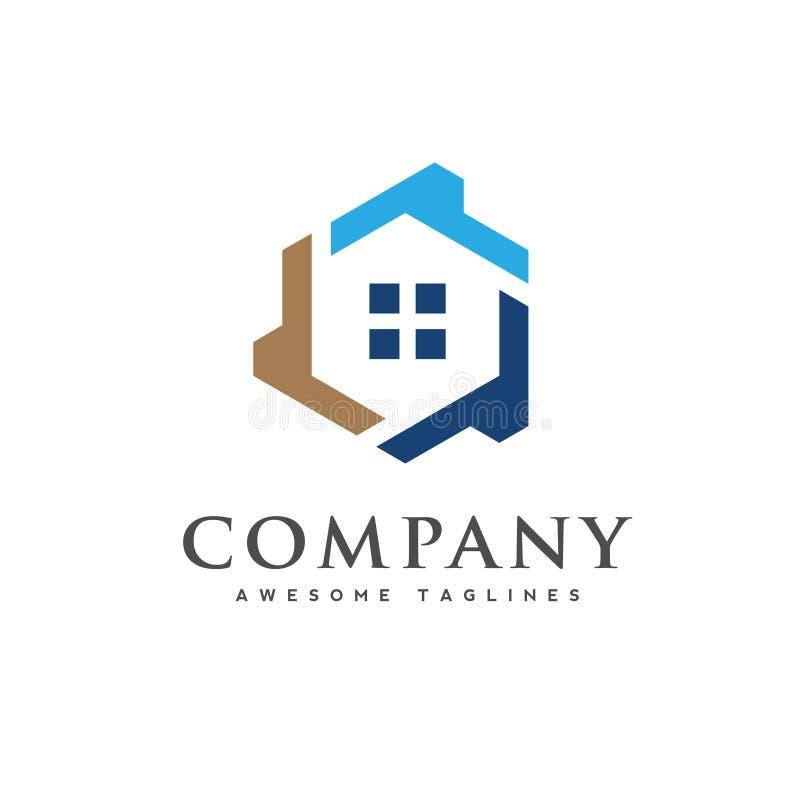 Vecteur de logo de maison d'hexagone, logo créatif de Real Estate illustration libre de droits