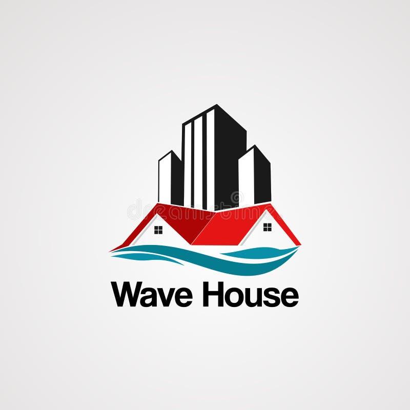 Vecteur de logo de maison de vague avec le bâtiment, l'élément, l'icône, et le calibre d'horizon pour la société illustration libre de droits