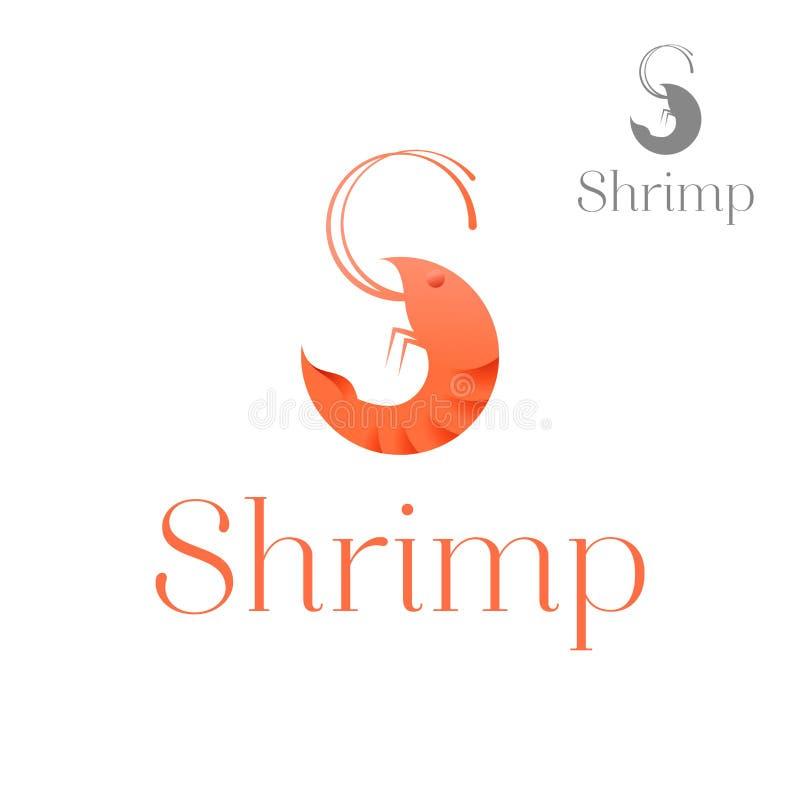 Vecteur de logo de restaurant et de crevette de fruits de mer illustration stock