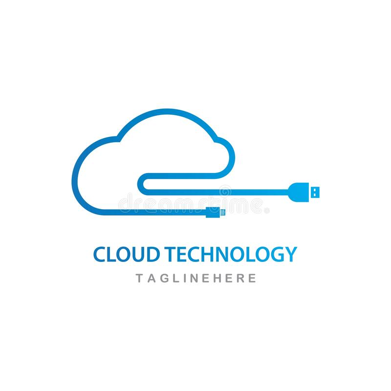 vecteur de logo de technologie de nuage illustration stock