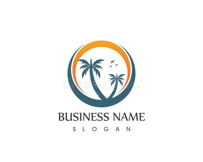 Vecteur de logo de vacances de plage de vague d'arbre de Coconute illustration de vecteur
