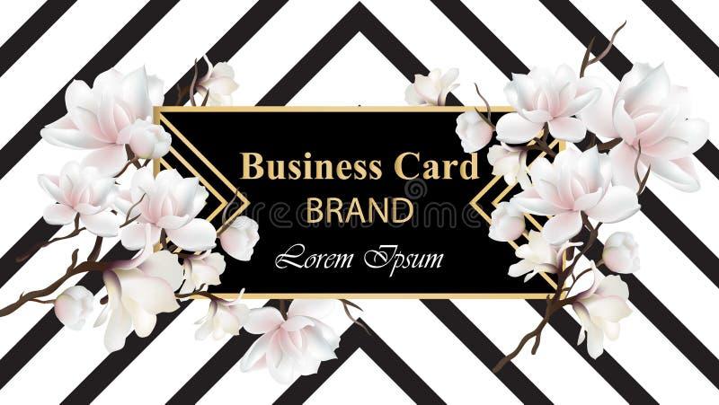 Vecteur de luxe de carte d'affaires Conception abstraite moderne avec le décor floral Endroit pour des textes illustration libre de droits
