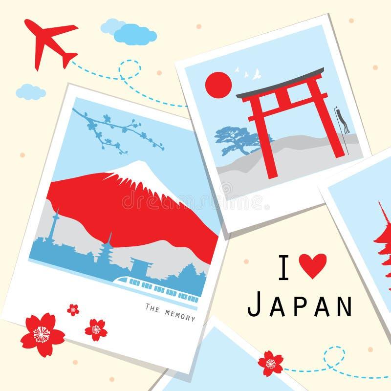 Vecteur de mémoire de cadre de photo de voyage de vue du Japon illustration de vecteur