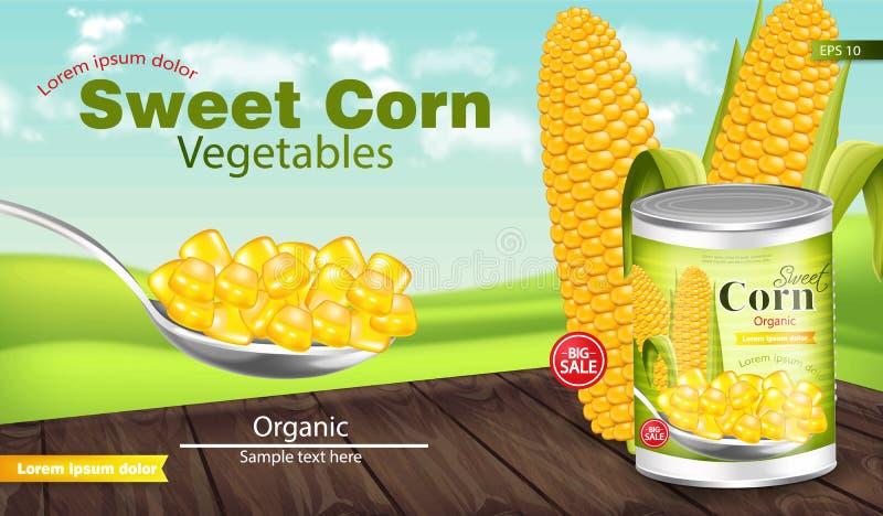 Vecteur de maïs réaliste Étain en métal Moquerie de paquet de produit  Conception de label r illustration libre de droits