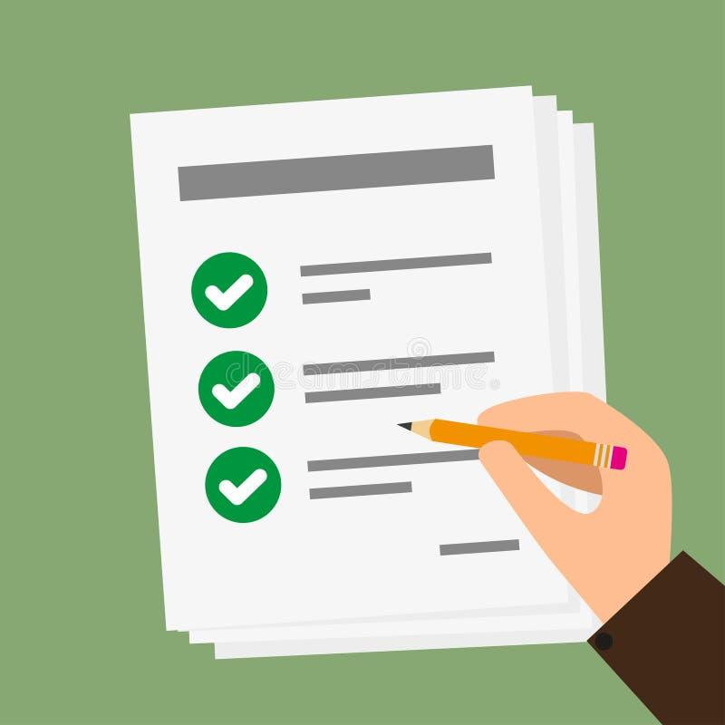 Vecteur de main tenant le papier d'affaires avec la liste de contrôle et le crayon illustration stock