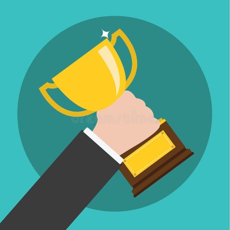 Vecteur de main tenant un trophée, gagnant dans les affaires illustration stock