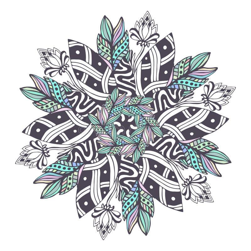 Vecteur de mandala dans le style floral Zentangle pour des pages de livre de coloriage Modèle d'ornement pour la conception de ta illustration stock