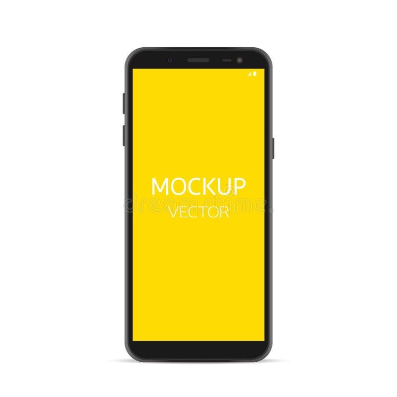 Vecteur de maquette de Smartphone, isolat noir de smartphone sur le blanc illustration stock