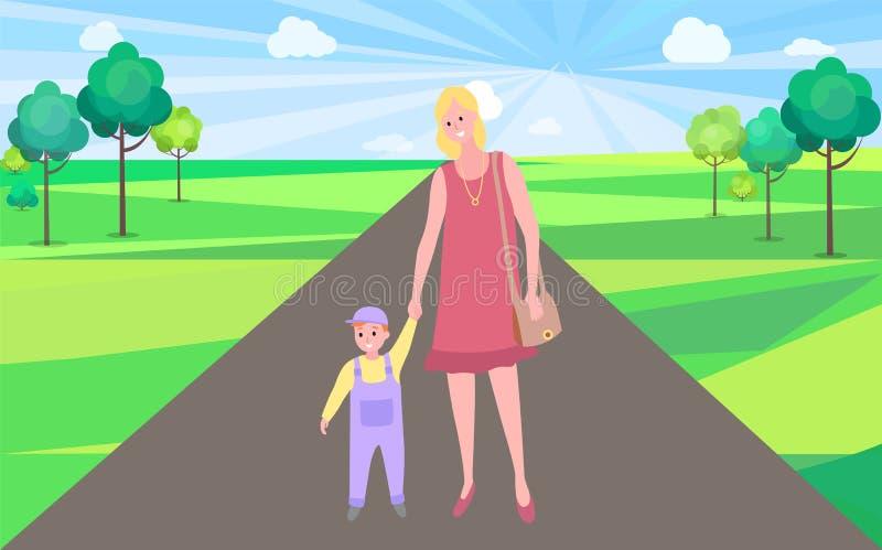 Vecteur de marche de mère et d'enfant, femme en parc de ville illustration de vecteur