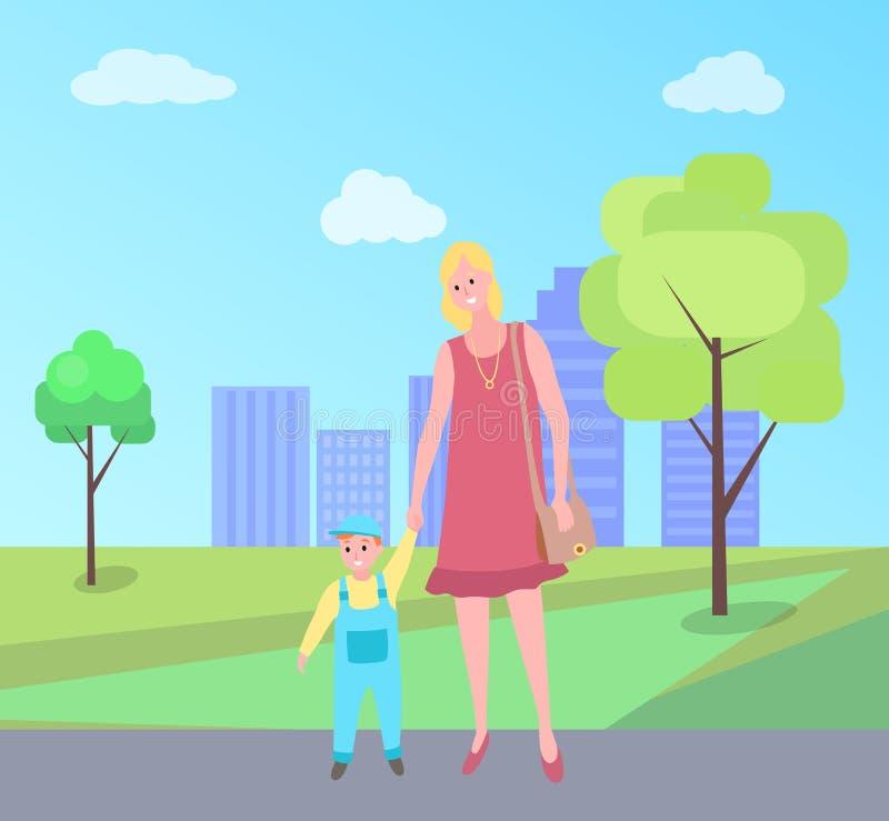 Vecteur de marche de mère et d'enfant, femme en parc de ville illustration stock