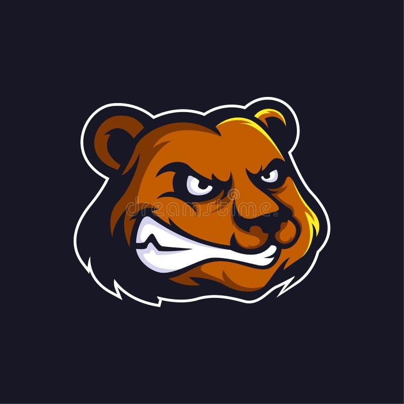 Vecteur de mascotte de logo d'ours illustration stock