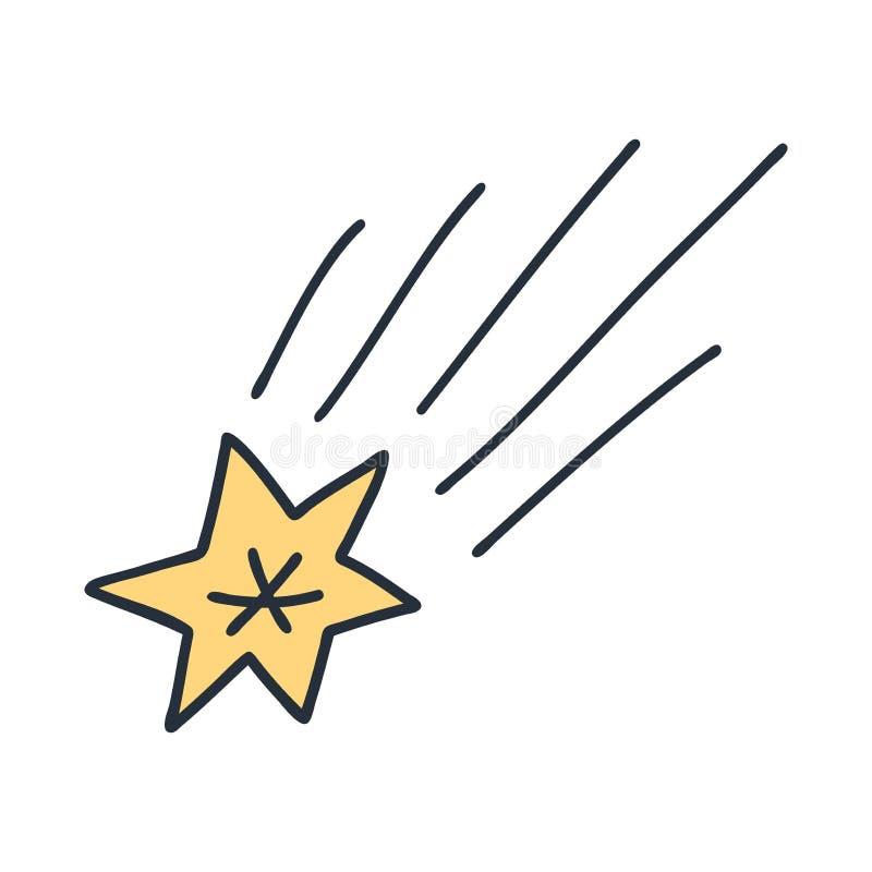 Vecteur de monoline de griffonnage de l'espace de brûlure du feu de météore d'étoile de comète de l'espace Salutations drôles pou illustration libre de droits
