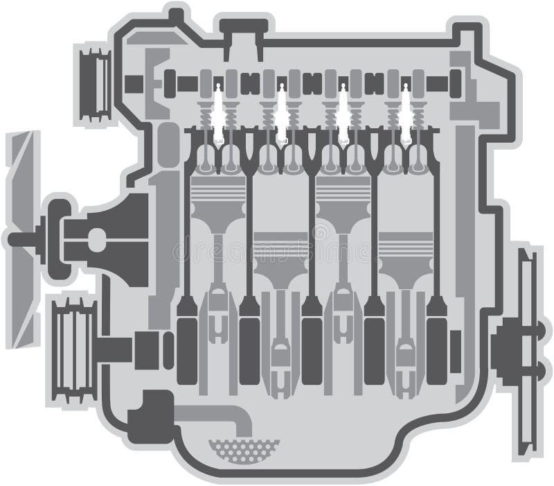 vecteur de moteur de 4 cylindres illustration libre de droits