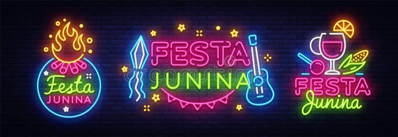 Vecteur de néon de calibre de conception de collection de carte de voeux de Festa Junina Conception moderne de tendance, enseigne illustration de vecteur