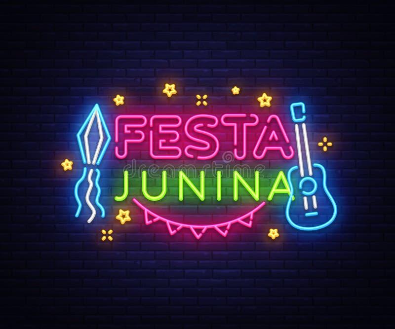 Vecteur de néon de calibre de design de carte de salutation de Festa Junina Conception moderne de tendance, enseigne au néon, ban illustration libre de droits