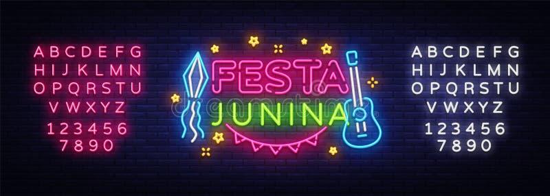 Vecteur de néon de calibre de design de carte de salutation de Festa Junina Conception moderne de tendance, enseigne au néon, ban illustration stock