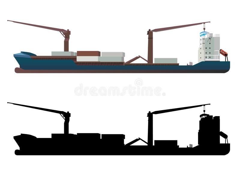 Vecteur de navire porte-conteneurs illustration de vecteur