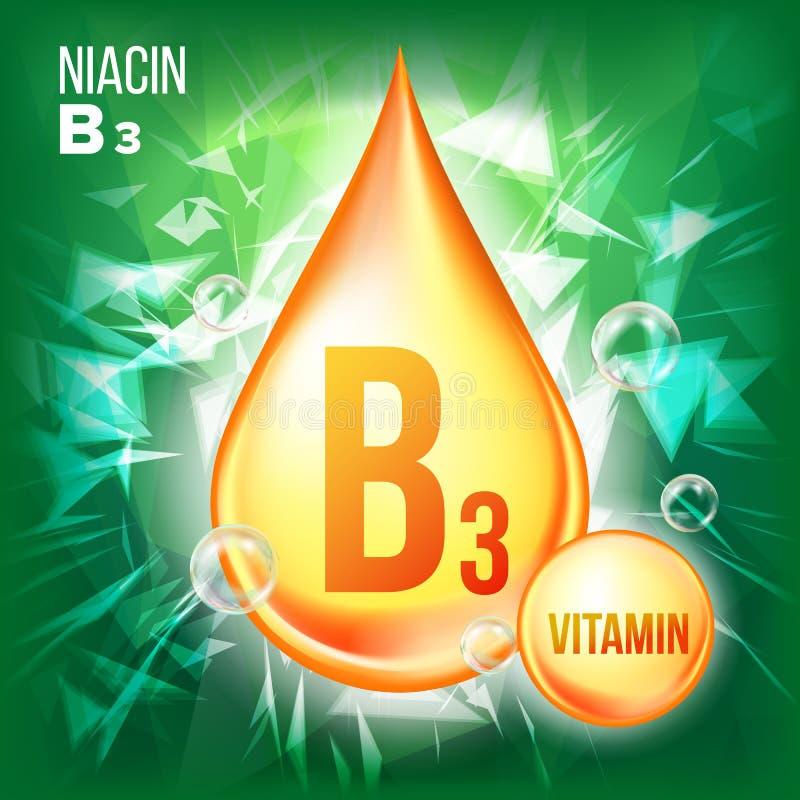 Vecteur de niacine de la vitamine B3 Icône de baisse d'huile d'or Icône organique de gouttelette d'or Liquide de médecine, substa illustration de vecteur