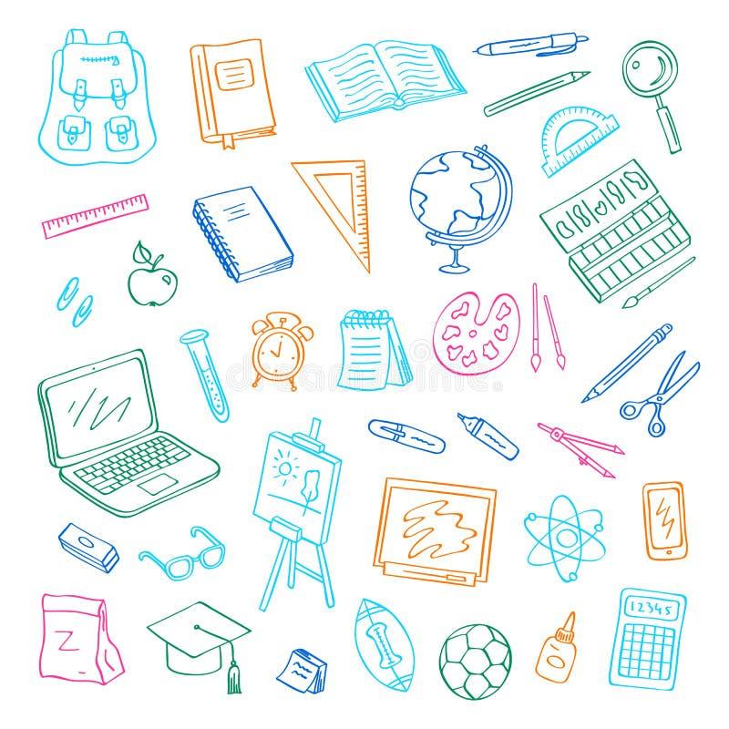 Vecteur de nouveau à l'ensemble d'éléments de griffonnage d'école Étude et objets d'étude Livre, carnet, sac, boule, tableau illustration de vecteur