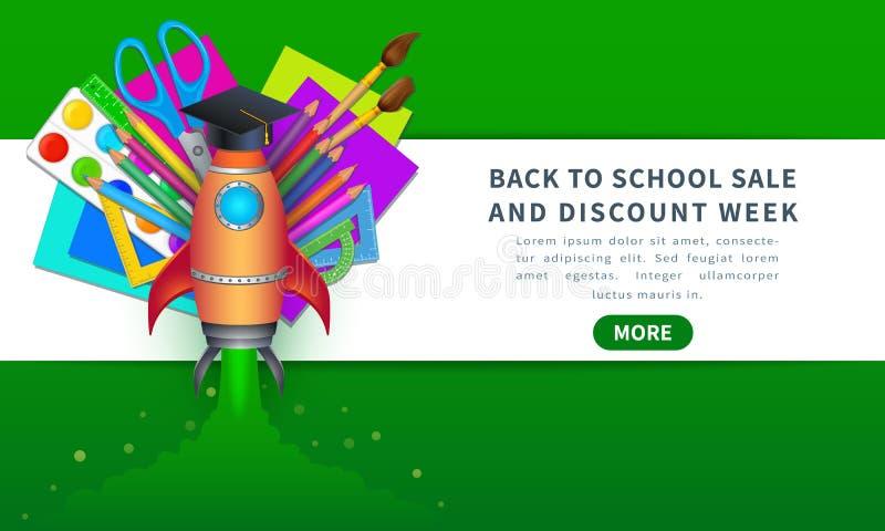 Vecteur de nouveau au calibre de bannière de vente d'école avec des approvisionnements d'éducation comme des crayons, pinceaux, p illustration de vecteur