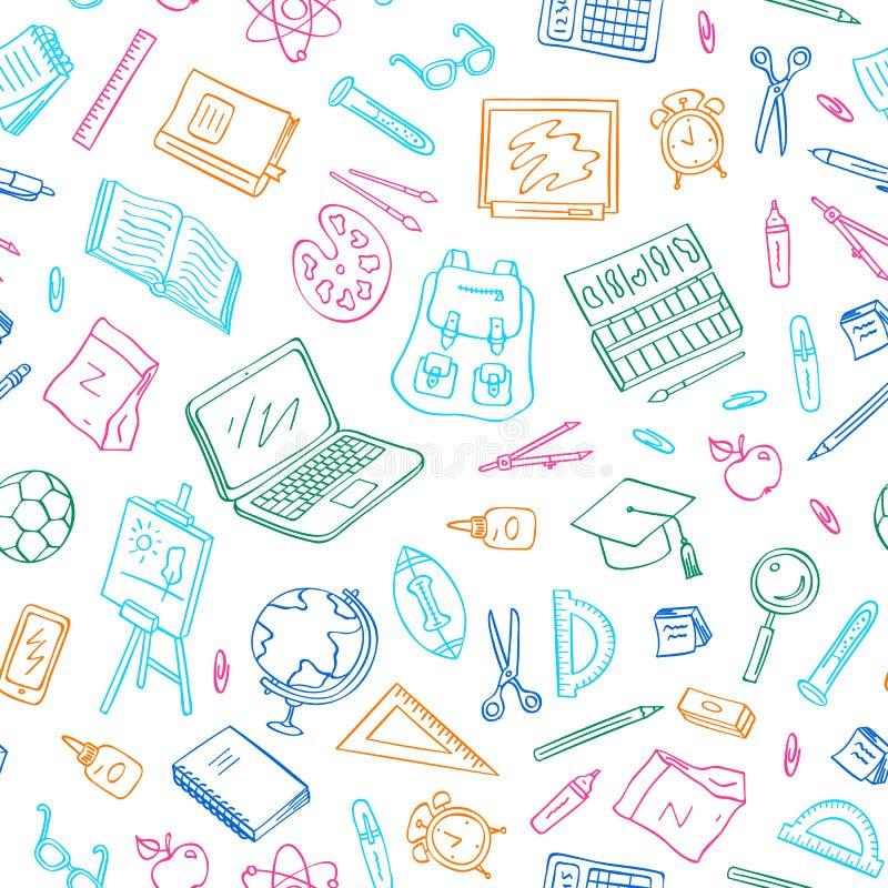 Vecteur de nouveau aux éléments modèle ou fond de griffonnage d'école Étude et objets d'étude Livre, carnet, sac, boule images stock