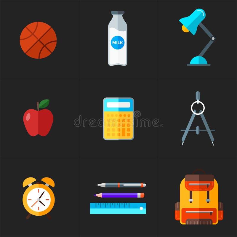 Vecteur de nouveau aux icônes d'école réglées Objet d'éducation dans le style plat image libre de droits