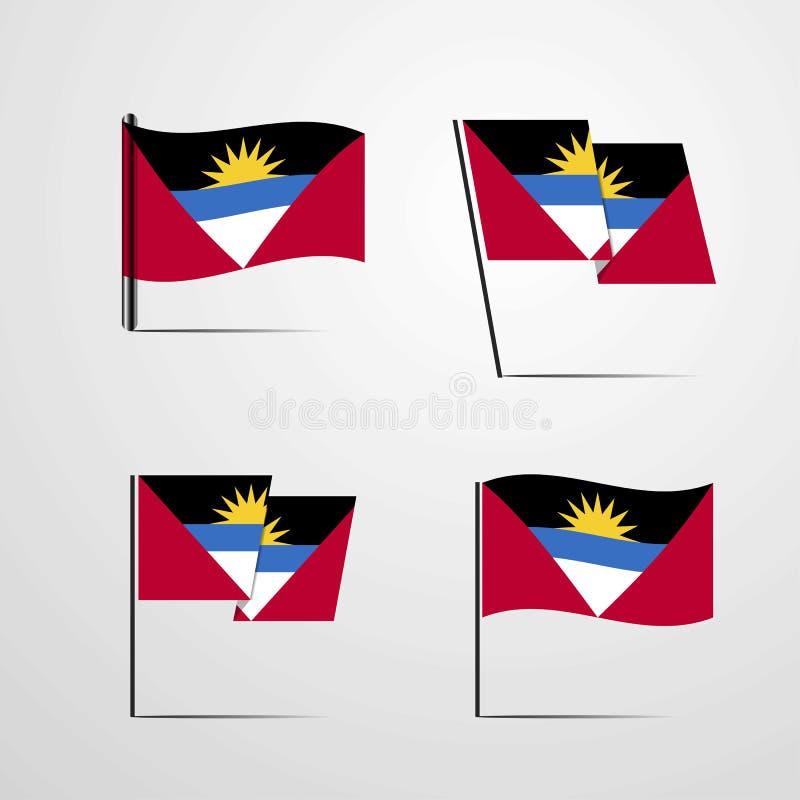 Vecteur de ondulation de scénographie de drapeau de l'Antigua-et-Barbuda illustration stock