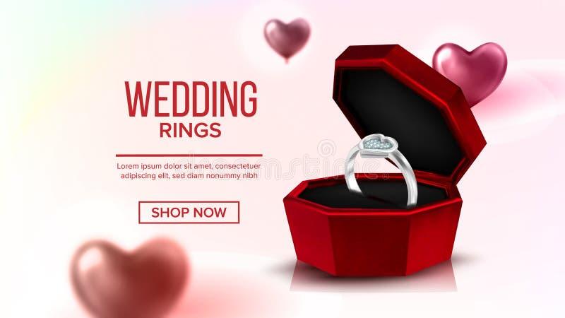 Vecteur de page d'atterrissage de Diamond Platinum Ring In Box illustration stock