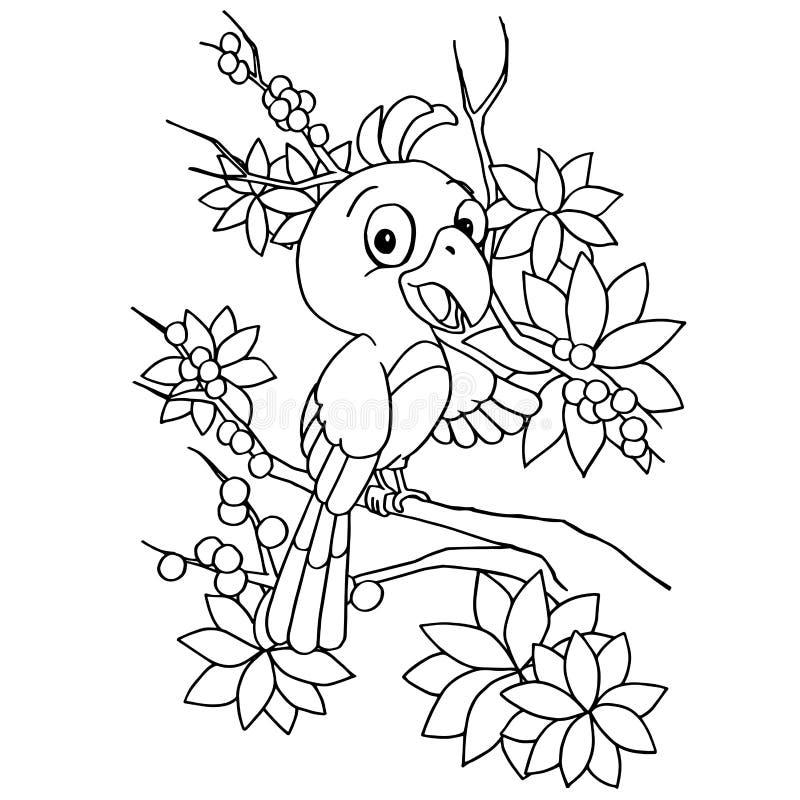 Vecteur de page de coloration d'oiseau de bande dessinée illustration stock