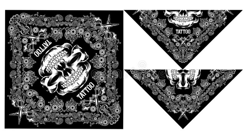 Vecteur de Paisley de conception de crâne de Bandana illustration libre de droits