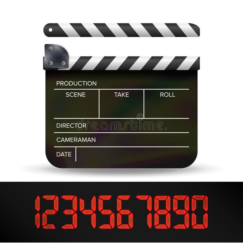 Vecteur de panneau de clapet Panneau de clapet de film de film de Digital avec des nombres rouges de Digital illustration de vecteur