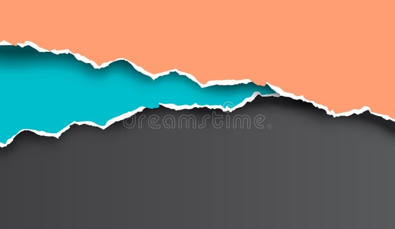 Vecteur de papier déchiré et déchiré coloré illustration stock