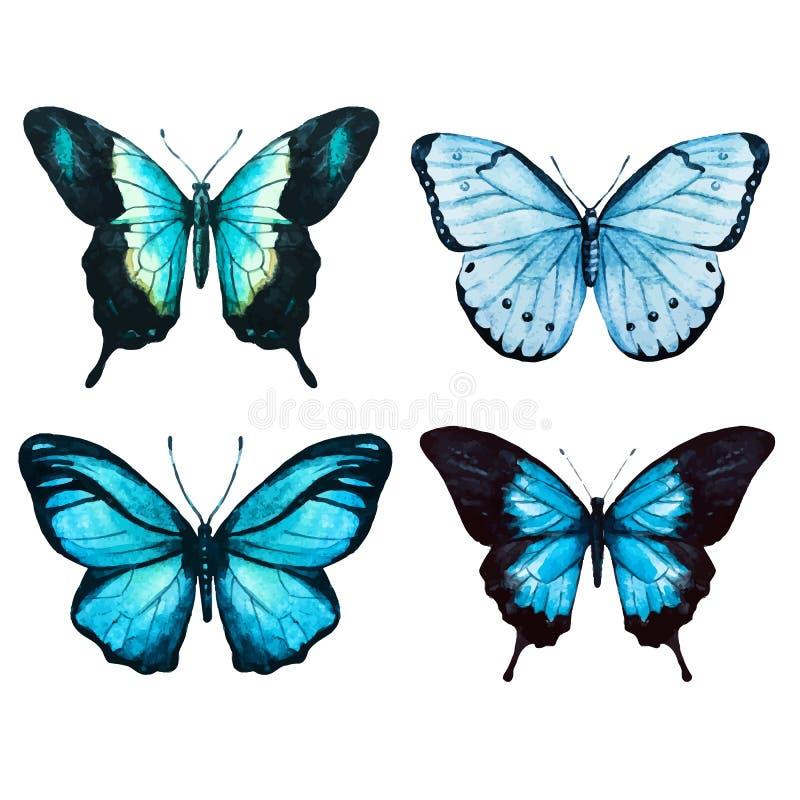Vecteur de papillons d'aquarelle illustration stock