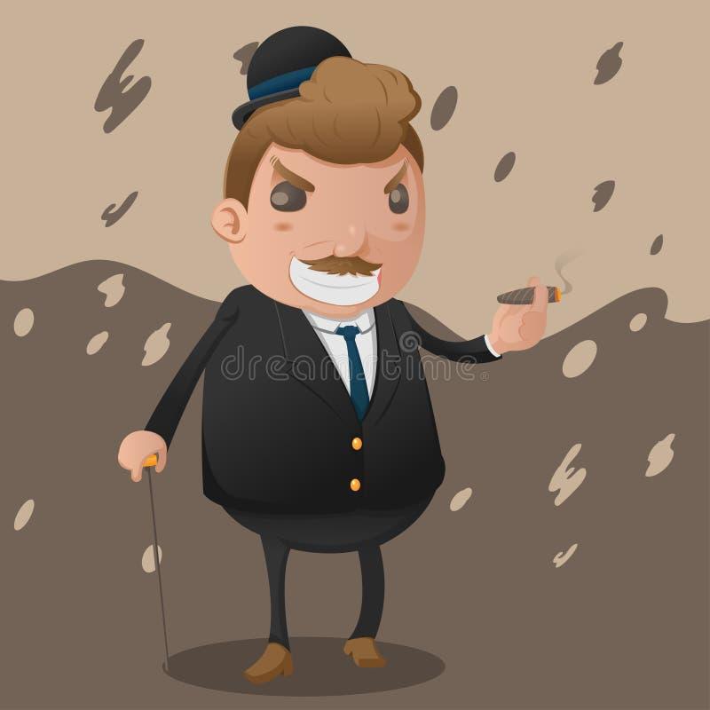 Vecteur de parrain de mascotte de caractère d'homme de Mafia illustration stock