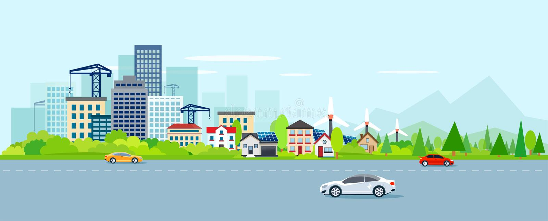 Vecteur de paysage urbain avec le paysage urbain et les banlieues modernes illustration de vecteur
